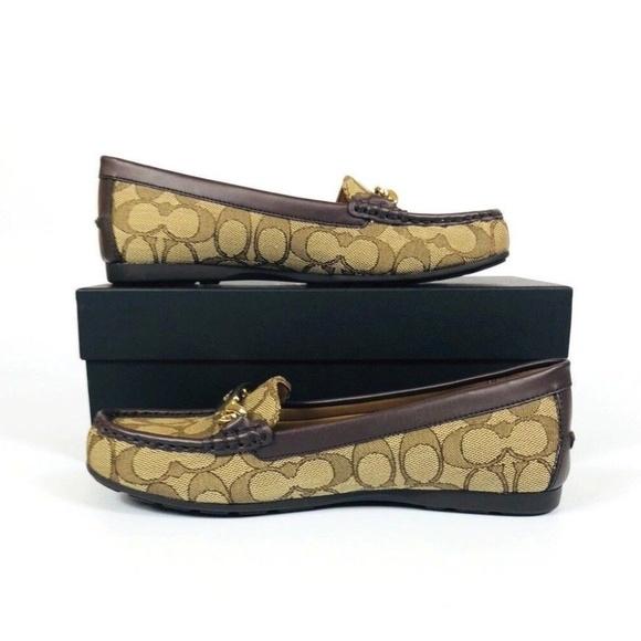 c7b41a97c92 COACH OLIVE Signature Jacquard Loafers Flat